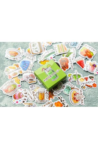 Naklejki w pudełeczki z jedzeniem i japońskimi napisami