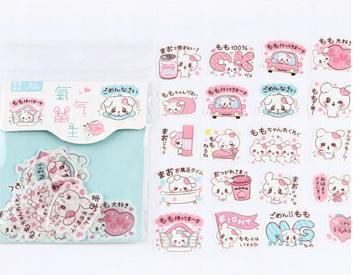 Królicze papierowe naklejki z japońskimi napisami