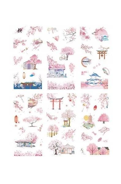 Japonia i sakura. Zestaw naklejek